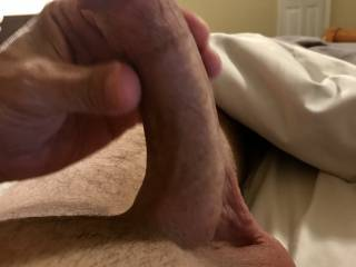 Getting ready to stroke my hard shaved cock.  Anyone wanna watch or help?
