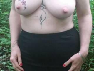 My Sussex Submissive takes a topless stroll in an Eastbourne public park. She is commando!