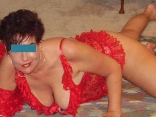Hot wife I met off the web posing for me in a new outfit she bought just to meet me in!