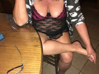 sexy wife at kitchen table