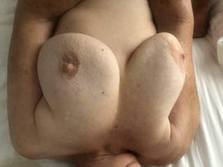71 year old wifes amazing tits still Let her know if you like them
