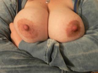 look at my wife\'s big breasts....i love sucking on them