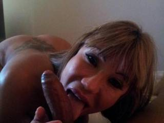 MMMMMMMMMMMMM I would love to have you licking my THROBBING HARD COCK like that anytime SEXY!!! Your man is a lucky guy!!