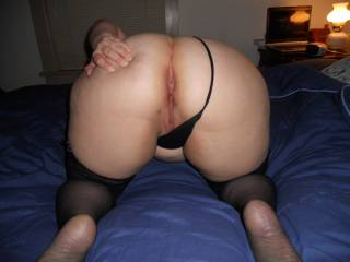 Black Thong pulled to the side bbw Wife Showing Shaved Pussy