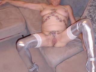 hi all what do you think of my silver stocking and high heels? comments always welcome mature couple