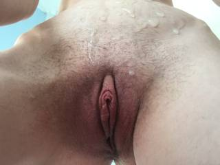 Joanne sent these photos while I was at work of her pussy with a friends cum over her