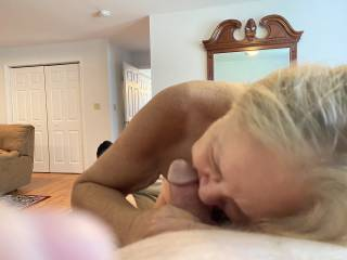 A friend playing and teasing me during a great blow job.   Thanks for a great afternoon Mrs Billbeatmeat