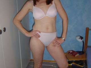 sarah in her bra and panties