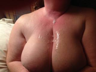 I met a guy at the hotel bar, and  invited him to our room. We fucked for a couple of hours and he wanted to cum on my big tits. I wish they were completely covered. I need more for hubby to clean up. Can anyone help me with that request?