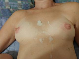 Pumped nipples, me naked, a load of cum... what could make this better?