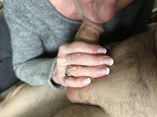 Jerking to cum rear view