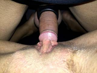 Getting his dick ready to penetrate her pussy. He was teasing her so much. She couldn\'t wait for it anymore.