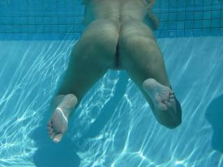 Relaxing in the swimming pool at home.