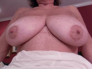 Like I told said in my other pic comment....I want to suck one areola while I flick the very nipple tip with my tongue and while I am pinching and tweeking the very tip of the other.  Then I whope you will suck mine too...I love my nipples sucked on too.  I wanna show you how I play with my nipples on my cam.
