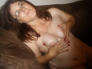 Love to be spraying cum all over those tit's, face & glasses!