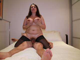 She loves riding my cock like this and playing with her tits at the same time, how would you use my cock?