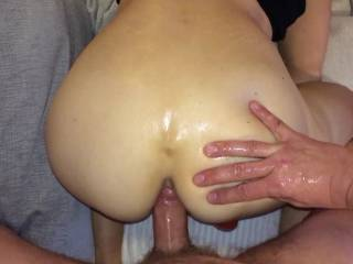 Hubby caught me masturbating and asked if could join in. He knows that I love to put a dildo in my ass while getting off so he just lubed up his cock and started to fuck my ass. He didn´t last that long though. Hope you enjoy, I did.