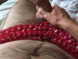 Stroking myself hard with balls strapped and red/white polka dot frilly panties on x