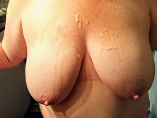 The end result of fucking her big tits.
