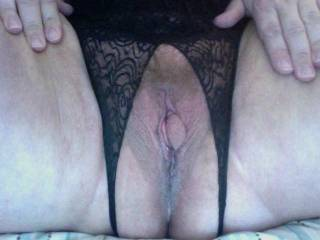 My new panties after I played with my pussy... all swollen and juicy... yum!