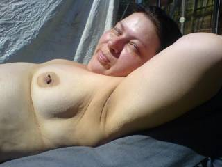 i love going topless in the garden