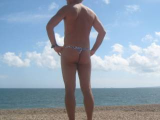 enjoying the view and my thong