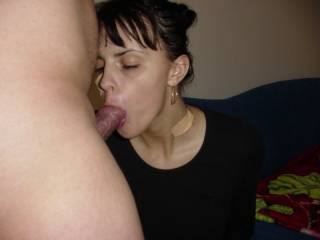 Ooooooo, hubby wants one of those hot blowjobs that you give...You do look very hot sucking on a cock.  K & G