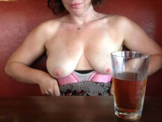 Gorgeous lady!! Lovely nipples. WOW!! I want to dine with you both if she does that for you.