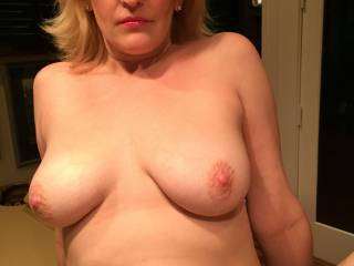 I want to suck and lick your lovely tits while you ride the hard cock you have given me.