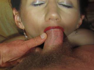 What a wonderful job you are doing to me! Pumping all that sperm in my throat. And it tastes so good ...