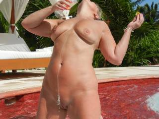 Champagne dripping from your pussy! What a combination...