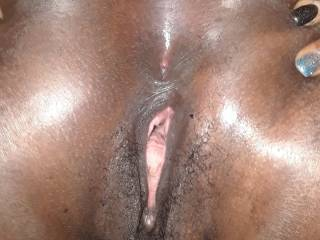 Ebony pussy opening up for hard white cock. Any more out there ready for some hard white cock?