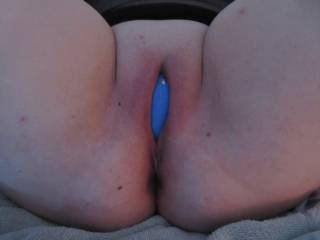 Wife\'s freshly shaved pussy with her We Vibe vibrator planted firmly in position. She came like crazy!!