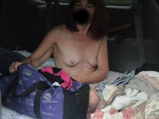 We drove up north to camp and got in late. The forecast was rain, so we could set up the tent. Next best thing was an air mattress in the back of the van or should I say fuck wagon. Tesa woke up naked and got dressed right there.