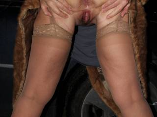 It\'s date night and my hubby took me to an expensive restaurant, so I dressed the part. No bra, no panties and plenty of access to my sweet little pussy. On the drive home, hubby stopped and I decided to show him the goods. Guess what happened next?