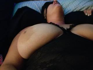 Wife blindfolded and ready to be taken advantage of