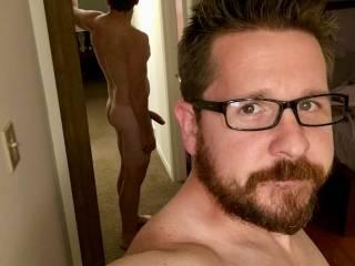 Reverse mirror shot w/ beard, butt and cock