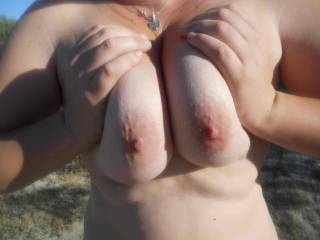 Pushing my big breasts together