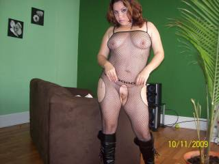 She looks very fuckable here!  I bet she could wear out both my and hubby's cocks and still want more in that outfit!