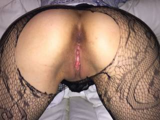 Stocking ripped open like a whore and my pink, wet pussy on display.  Comments and tributes please x