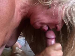 Sucking my Husbands cock while being fucked by a sexy thick cock.....lucky girl!