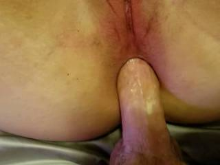 Injecting her sweet ass with hot cum. Anyone hungry?
