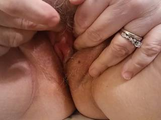 Spread those married pink lips wide, dear! I need to feast on that hot, wet pussy of yours. I smell that anticipation, and I am ready to bury my face in that pussy.
