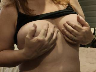 My \'married\' nipples are so hard for hard for you.These tits are anticipating your love. Wanna play with them? Suck them? How about fucking these titties?