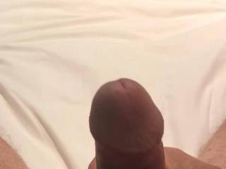 Just waiting for her to finish her shower, so horny! Got to precum stage-who wants to see the cum shot???
