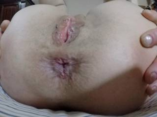 Now that I was wide , my neighbor got my day off to a good start by sinking his fingers in my wet pussy and giving my ass some morning wood.