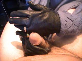 mil with her gloves and rings, making my cock hard