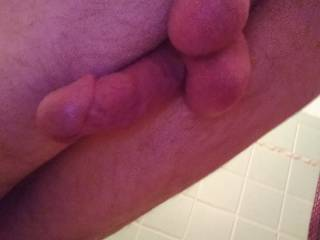 Taking pictures of my cock and balls from behind me