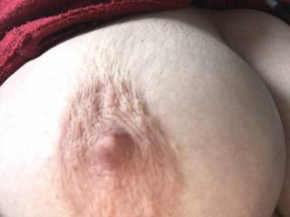 Picture of my wife's big right boob, what a beautiful sight it is.