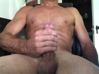 I held my cock hard so I didnt spurt on everything around me,which caused the cum to just pour out like a fountain down my hand, shaft and balls, felt so good!